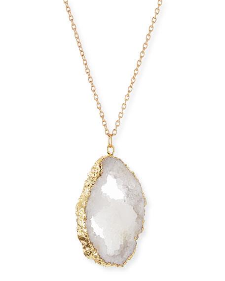 Panacea Long Druzy Pendant Necklace, White