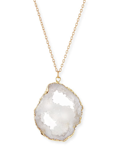 Long Druzy Pendant Necklace, White