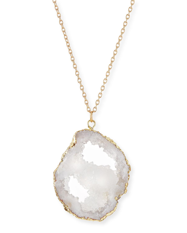 Panacea long druzy pendant necklace white neiman marcus aloadofball Images