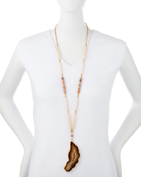 Long Beaded Agate Pendant Necklace, Peach
