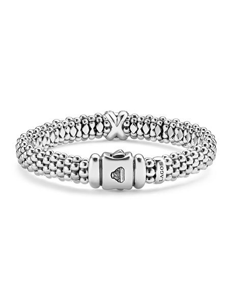 Silver Caviar Bracelet with 18k Diamond X