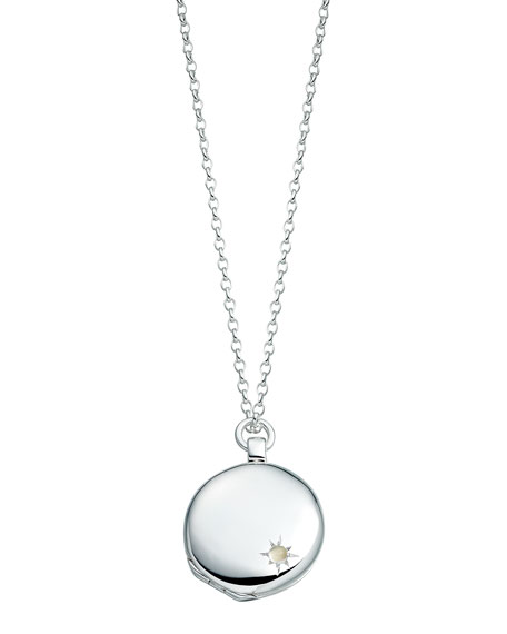 Medium Astley Silver Locket Necklace
