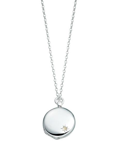 Medium Astley Silver Locket Necklace