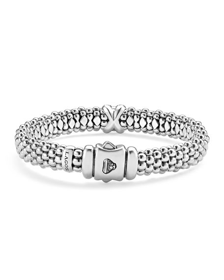Silver Caviar Bracelet with Diamond X