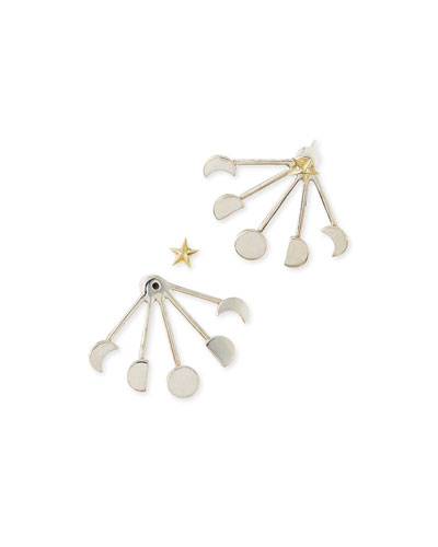 Moonphase Silver Jacket Earrings