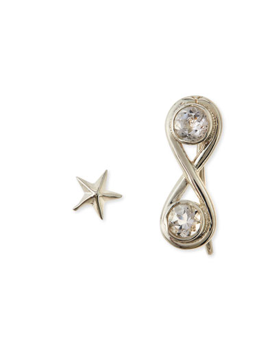 Infinite Silver Ear Cuff & Star Earrings