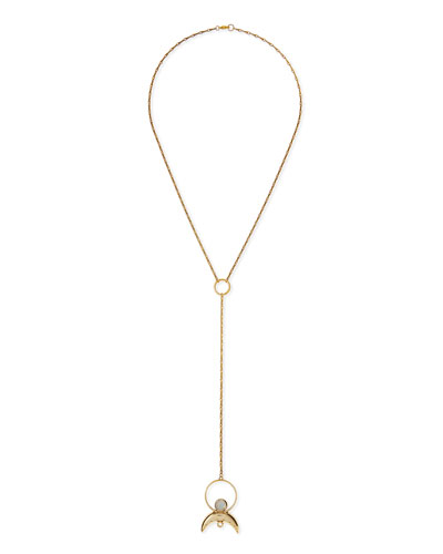 Cosmos Brass Lariat Necklace