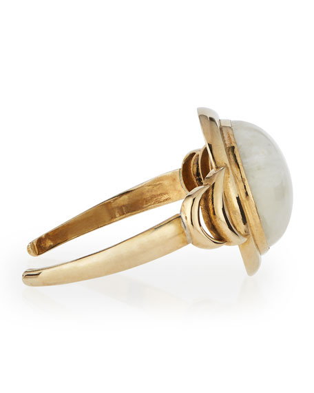 Brass Luna Reveal Moonstone Cuff