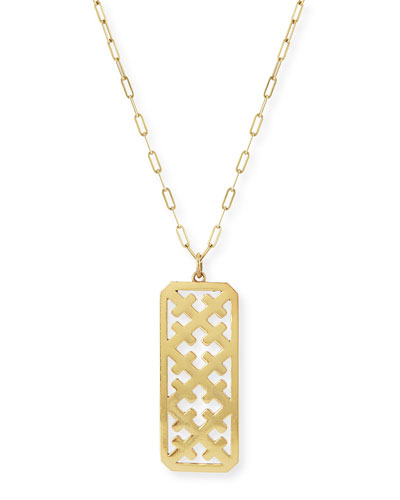 Large Crosses Dog Tag Gold Vermeil Necklace