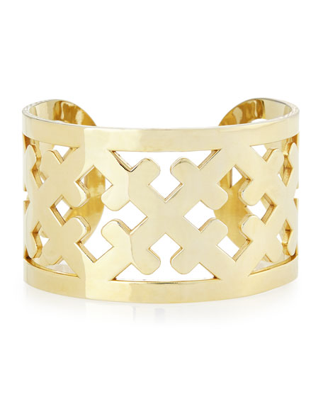 Wide Gold-Plated Cross Cuff