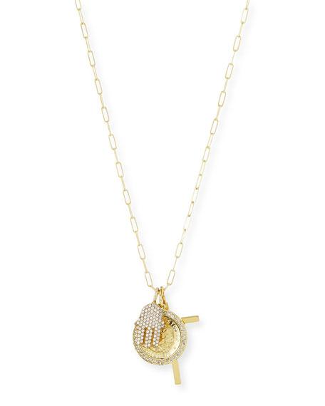 Katie Design Jewelry Spiritual Gold Vermeil Diamond Charm Necklace