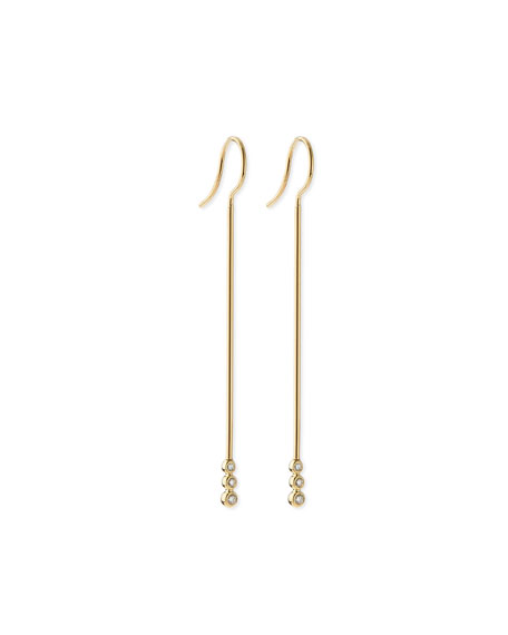 Mizuki 14k Gold Three-Diamond Bar Earrings