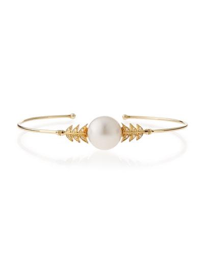 14k Pearl & Diamond Petal Cuff