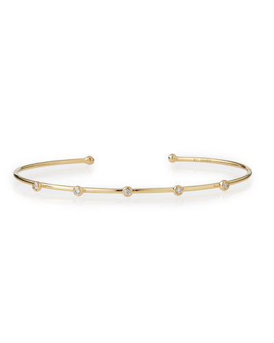 14k Gold Cuff with Five Diamonds