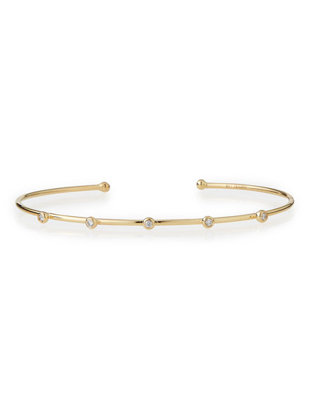 Mizuki 14k Gold Cuff with Five Diamonds