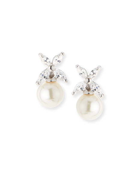 Majorica CZ Top Simulated-Pearl Stud Earrings, 8mm