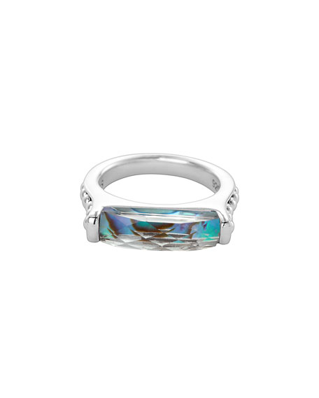 Maya Silver Abalone Stackable Ring, Size 7