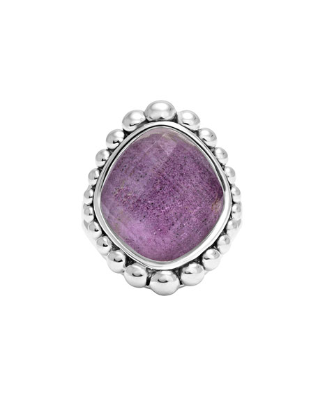 Maya Silver Charoite Dome Ring, Size 7