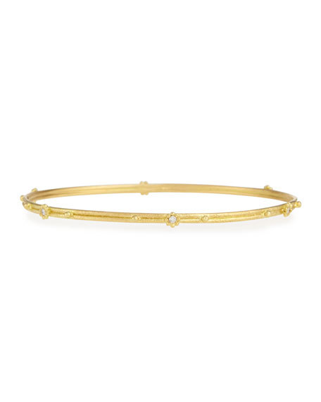18k Gold Granulated Diamond Bangle