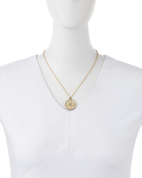 18k Mosaic Cross Pendant Necklace
