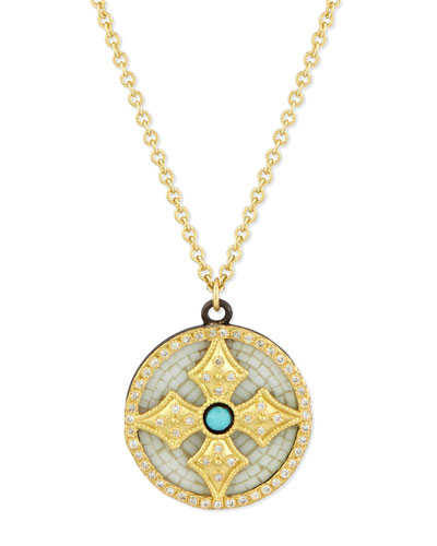 18k Mosaic Cross Pendant Necklace