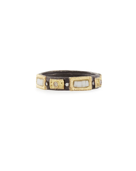 Armenta Midnight Silver/Gold Stackable Mosaic Ring