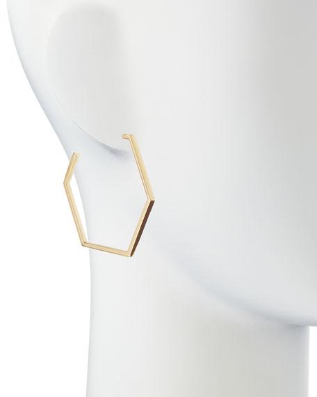 Golden Hexagon Hoop Earrings