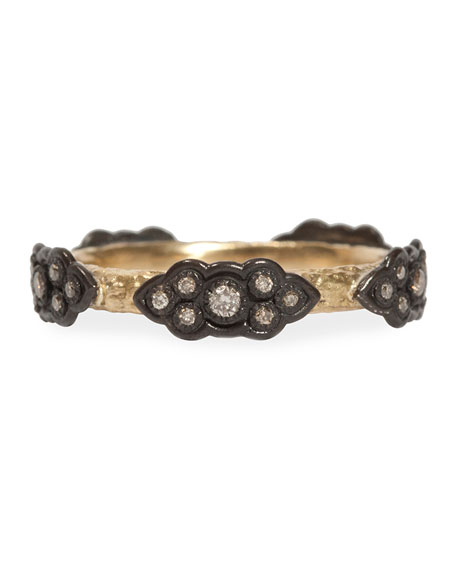 Armenta Champagne Diamond Stackable Scroll Ring
