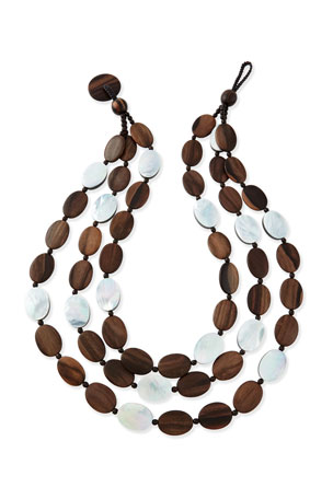 Viktoria Hayman Tiger Wood & Mother-of-Pearl Triple Strand Necklace