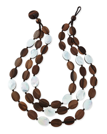 Viktoria Hayman Triple-Strand Tiger Wood-Link Necklace VVb9GBW