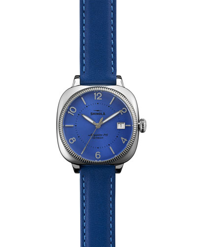 36mm Gomelsky Leather-Strap Watch, Periwinkle