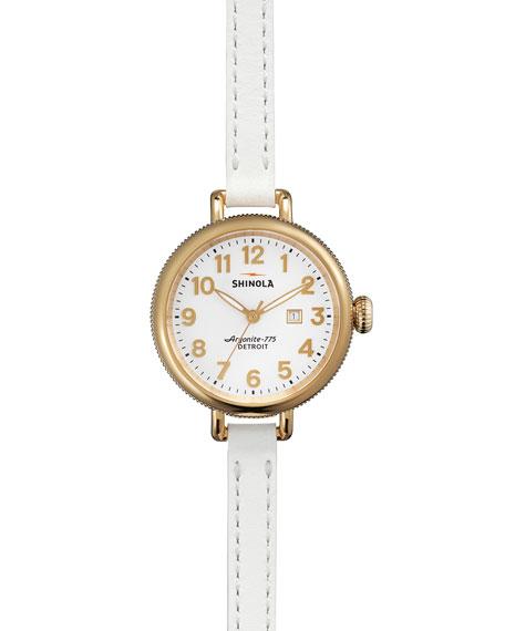 34mm Birdy Golden Double-Wrap Watch, White