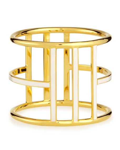 White Enamel Gold-Plated Bangle
