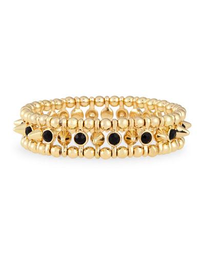 Small Golden Spike Stretch Bracelet, Black