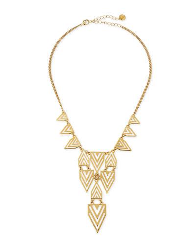 Geometric-Print Bib Necklace, Gold