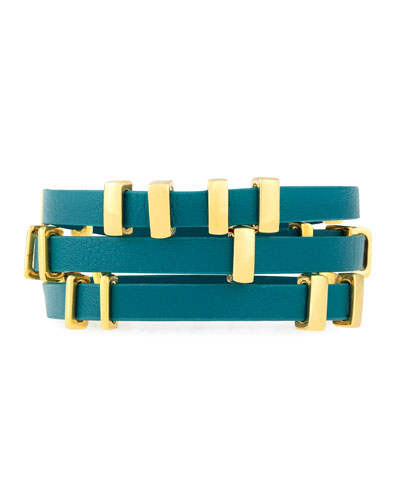 Ruby Triple-Wrap Bracelet, Turquoise