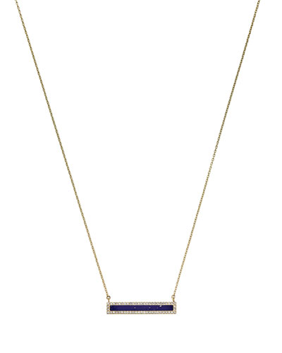 Golden Pave Bar Pendant Necklace
