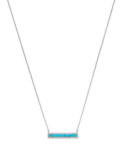 Silvertone Pave Bar Pendant Necklace