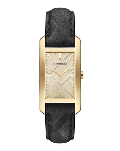 25mm Golden Rectangle Watch with Leather Check Strap