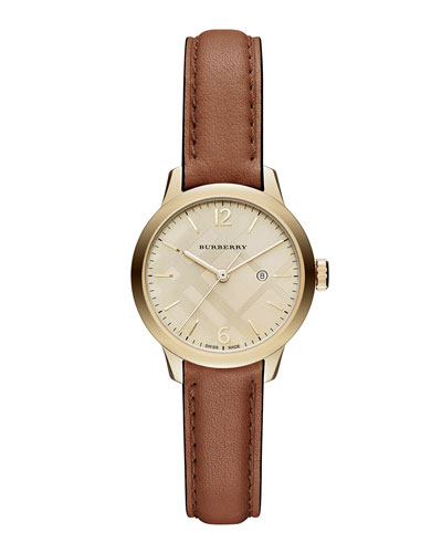 32mm Round Check Watch with Leather Strap, Tan