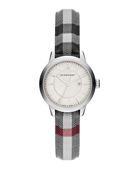Burberry 32mm Round Stainless Watch with Check Strap