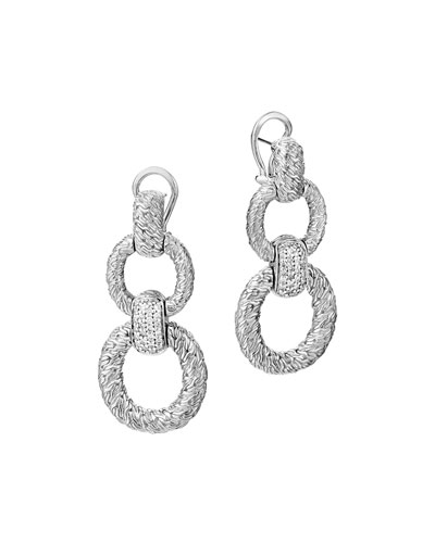 Classic Chain Diamond Circle Drop Earrings