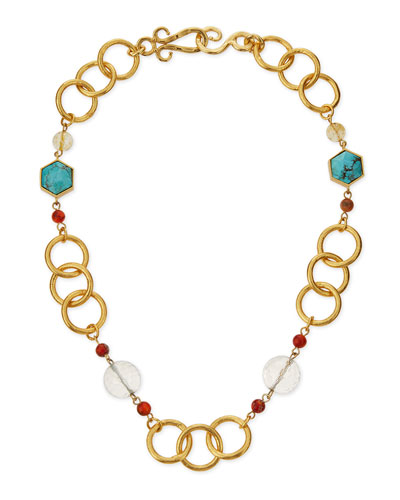 "Joy Gold-Plated Turquoise Necklace, 18""L"