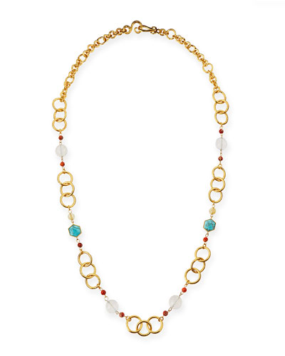 "Joy Gold-Plated Turquoise Chain Necklace, 42""L"