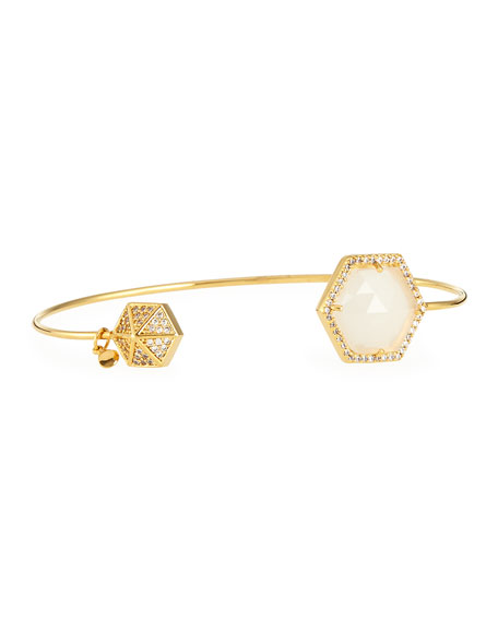 Tai Hexagon-Tip Pinch Bracelet, Clear