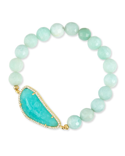 8mm Amazonite Beaded Bracelet, Mint