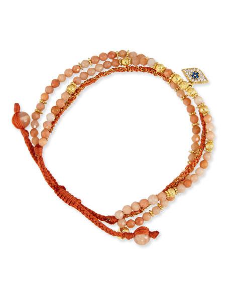 3-Strand Agate Beaded Bracelet with Evil Eye Charm