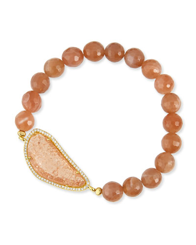 8mm Agate Beaded Bracelet, Peach Rose
