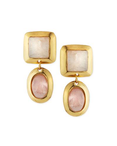 Crush Double Drop Quartz Earrings