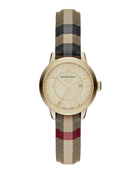 Burberry 32mm Round Golden Watch with Check Strap